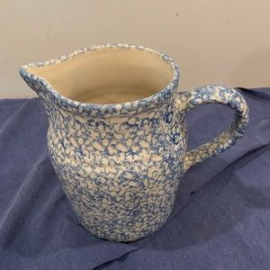 Roseville pottery blue sponge pitcher